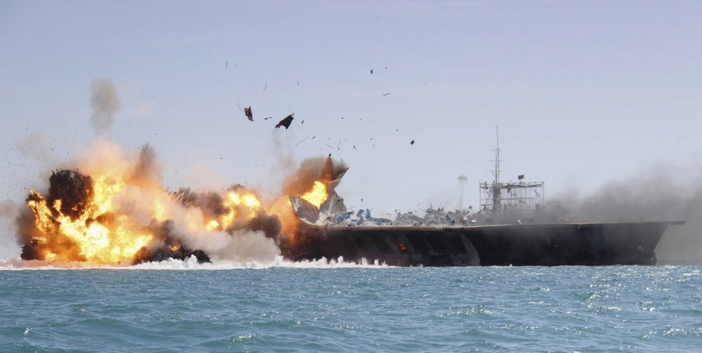 Iran's IRGC Navy attacks mock US aircraft carrier